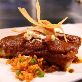Pork Enchiladas with Mexican Rice